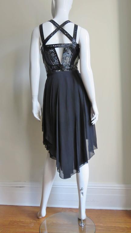 Versace Silk & Laser Cut Patent Trimmed Corset Dress. 8
