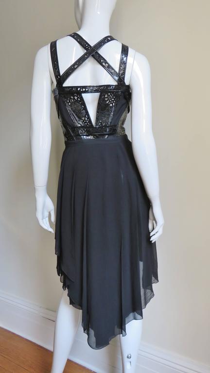 Versace Silk & Laser Cut Patent Trimmed Corset Dress. 6