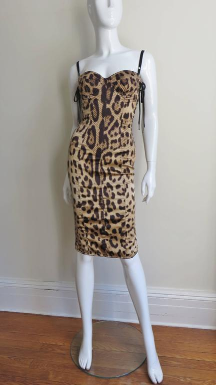 1990s Dolce And Gabbana Laceup Side Leopard Print Silk