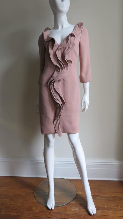 Women's 1990s Moschino Zipper Edged Ruffle Dress For Sale