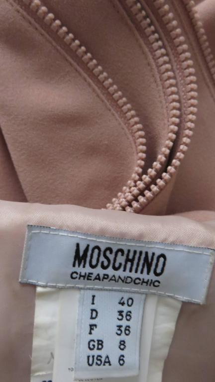 1990s Moschino Zipper Edged Ruffle Dress For Sale 4