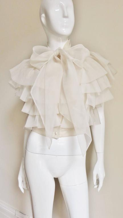 Ethereal 1960's Ruffle Blouse In New never worn Condition For Sale In New York, NY