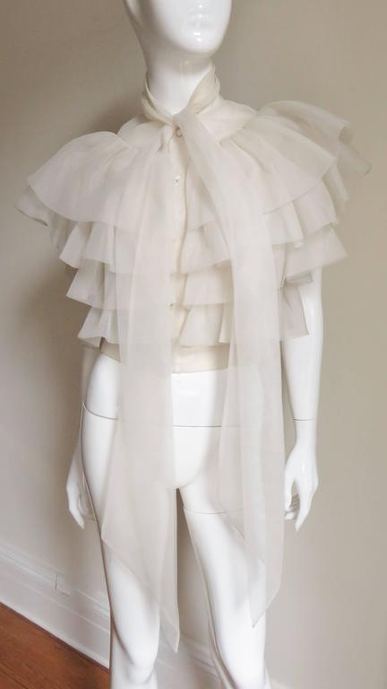 Ethereal 1960's Ruffle Blouse For Sale 1