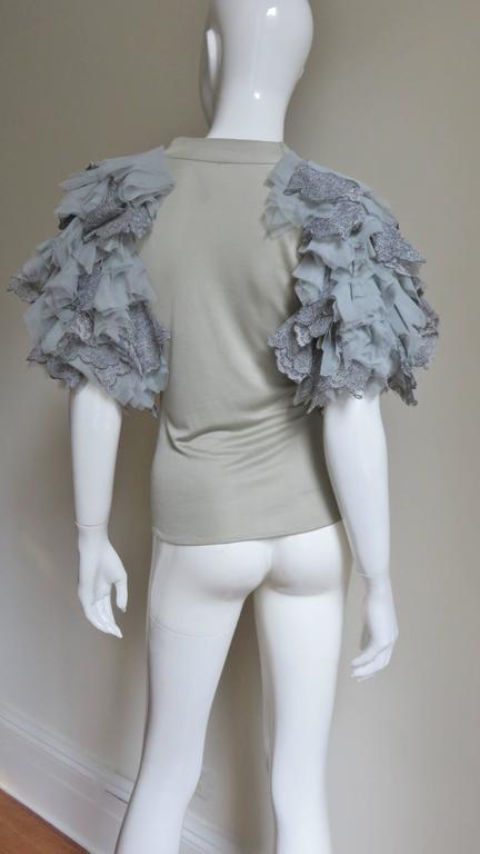 Fabulous Alexander McQueen Net Sleeve Silk Top 7
