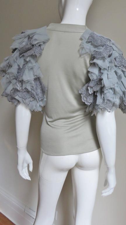 Fabulous Alexander McQueen Net Sleeve Silk Top 6
