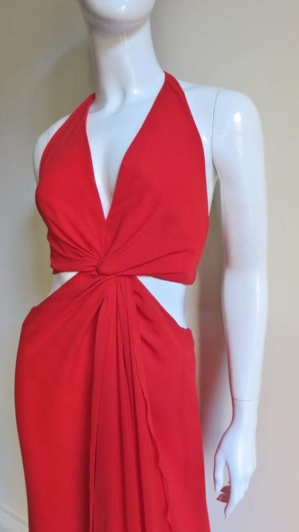 Red Fabulous Valentino Plunge Gown With Cutout Waist