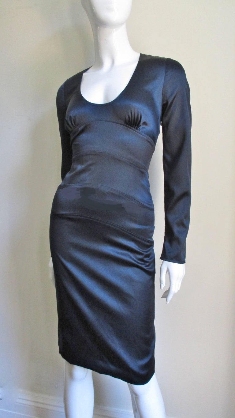 Black Versace Navy Silk Dress with Cut Out Back 1990s For Sale