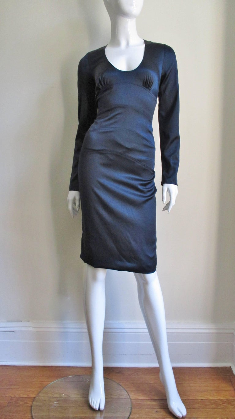 Versace Navy Silk Dress with Cut Out Back 1990s For Sale 3