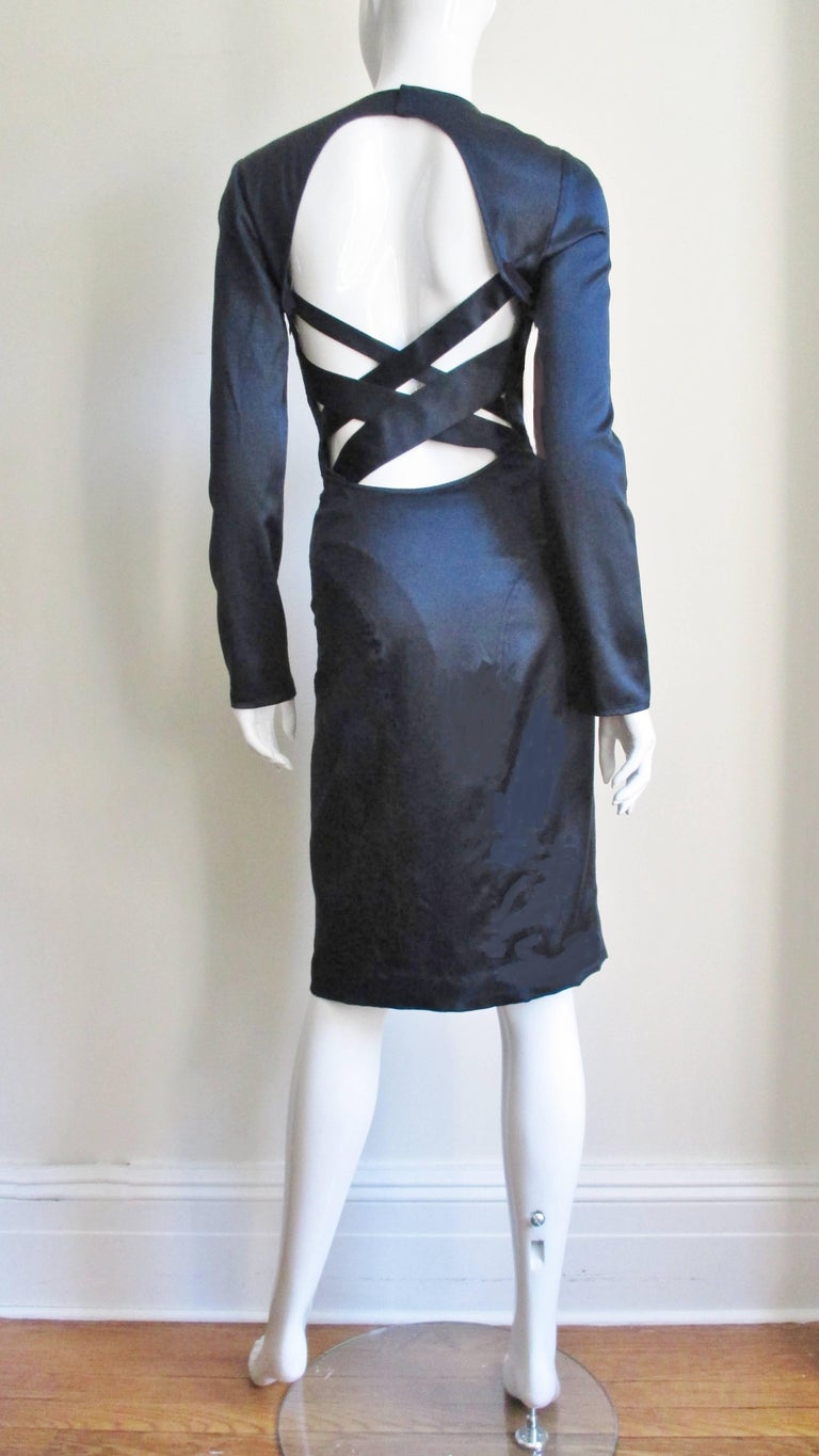 Versace Navy Silk Dress with Cut Out Back 1990s For Sale 7