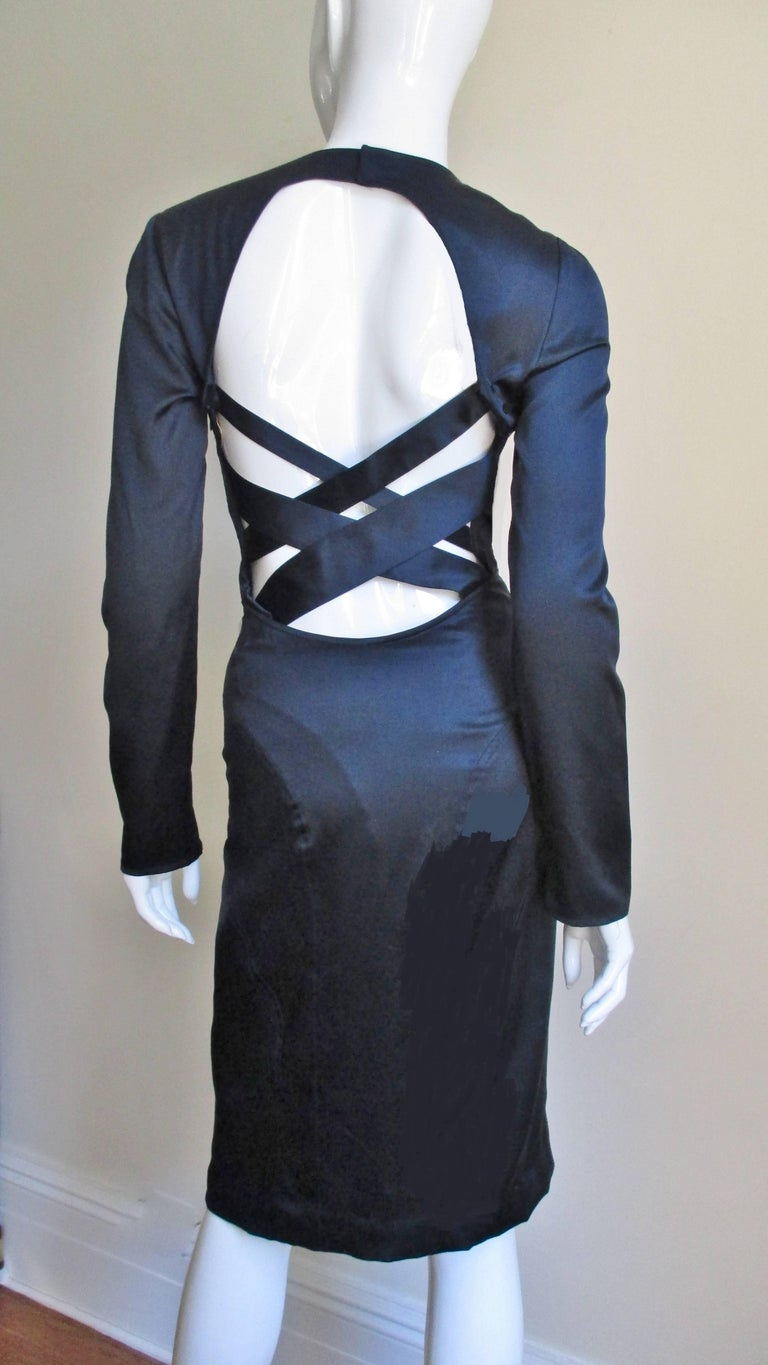Versace Navy Silk Dress with Cut Out Back 1990s For Sale 4