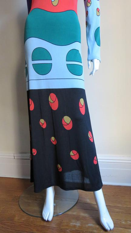 1970s Louis Feraud Mod Maxi Dress In Excellent Condition For Sale In New York, NY