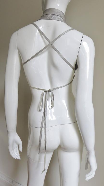 Ann Demeulemeester Silver Leather Lace Up Backless Vest For Sale 6