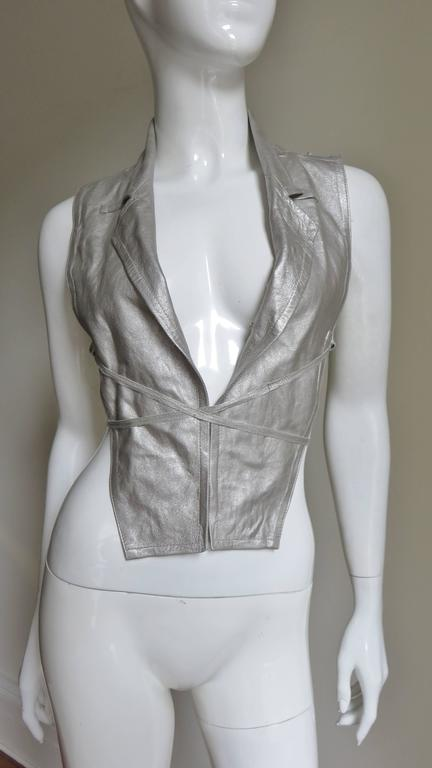 Ann Demeulemeester Silver Leather Lace Up Backless Vest For Sale 3
