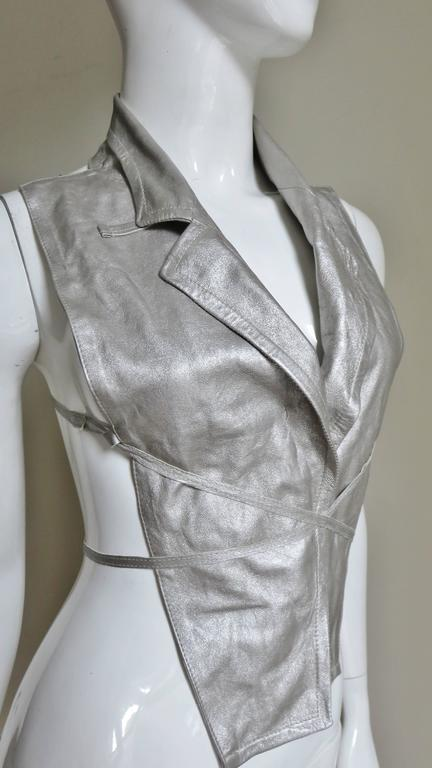 Ann Demeulemeester Silver Leather Lace Up Backless Vest For Sale 1