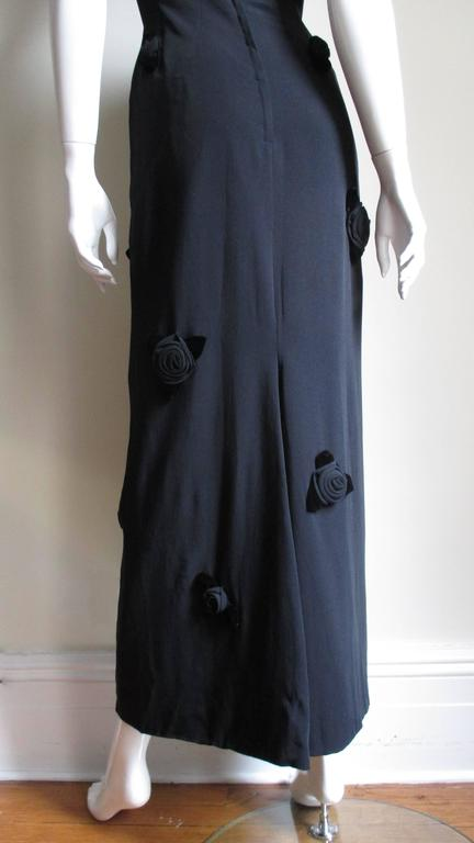 1960's Estevez Gown Covered with Black Roses For Sale 4