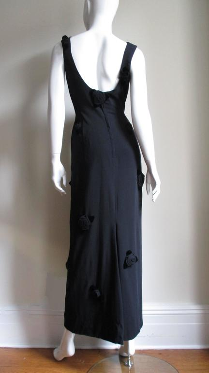 1960's Estevez Gown Covered with Black Roses For Sale 5