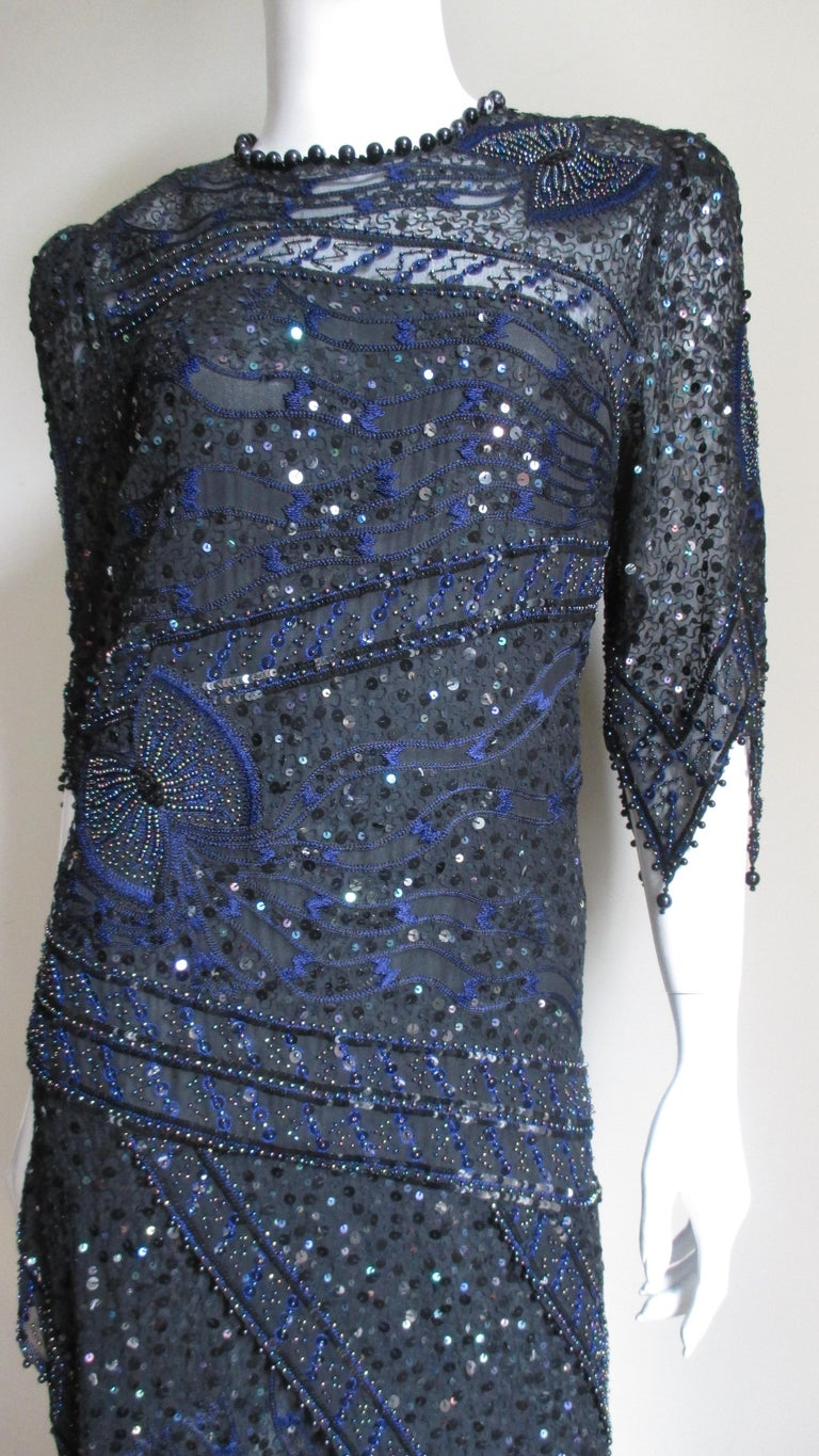 1970s Exquisite Zandra Rhodes Beaded Silk Dress  In Good Condition For Sale In New York, NY