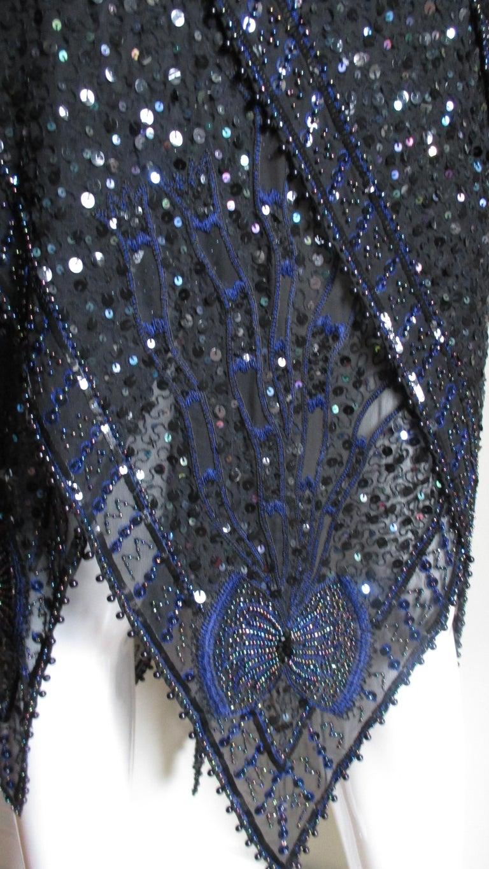 1970s Exquisite Zandra Rhodes Beaded Silk Dress  For Sale 5
