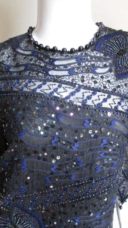 1970s Exquisite Zandra Rhodes Beaded Silk Dress  For Sale 1