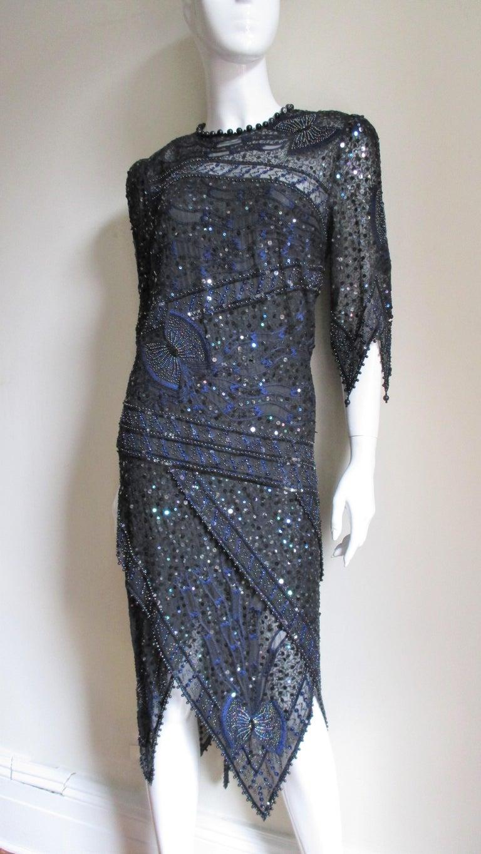 1970s Exquisite Zandra Rhodes Beaded Silk Dress  For Sale 6