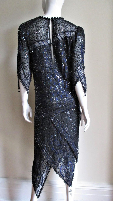 1970s Exquisite Zandra Rhodes Beaded Silk Dress  For Sale 9