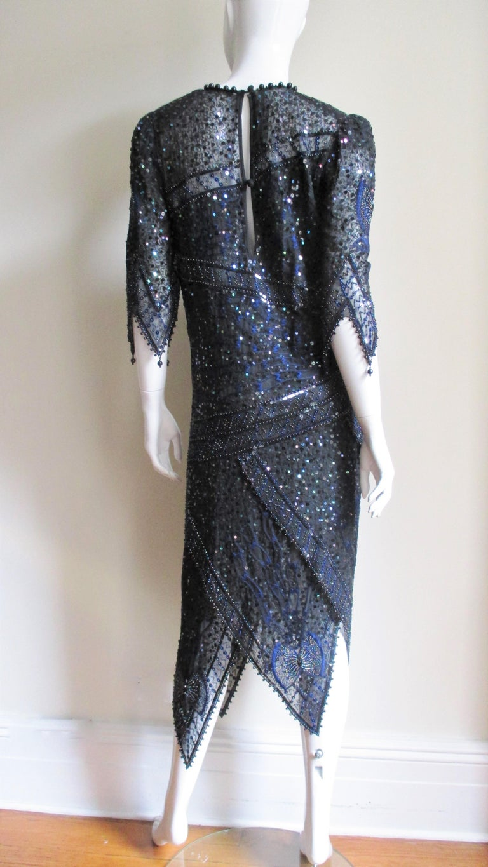1970s Exquisite Zandra Rhodes Beaded Silk Dress  For Sale 8