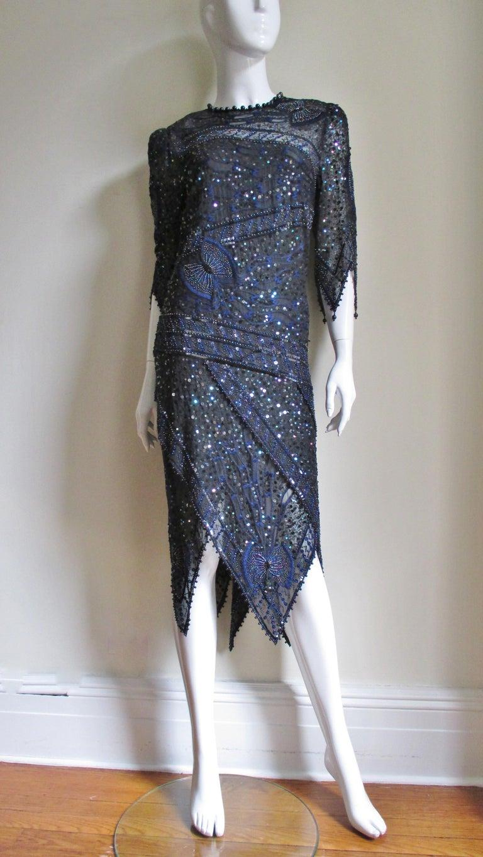 1970s Exquisite Zandra Rhodes Beaded Silk Dress  For Sale 7