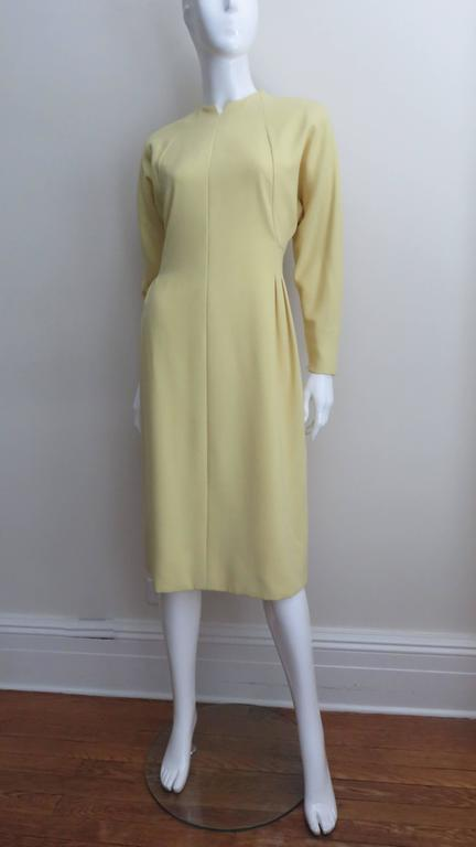 Women's 1970's Pauline Trigere Lemon Dolman Sleeve Dress For Sale