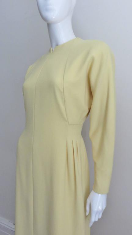 Beige 1970's Pauline Trigere Lemon Dolman Sleeve Dress For Sale