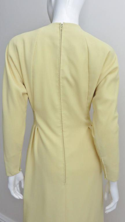1970's Pauline Trigere Lemon Dolman Sleeve Dress For Sale 2