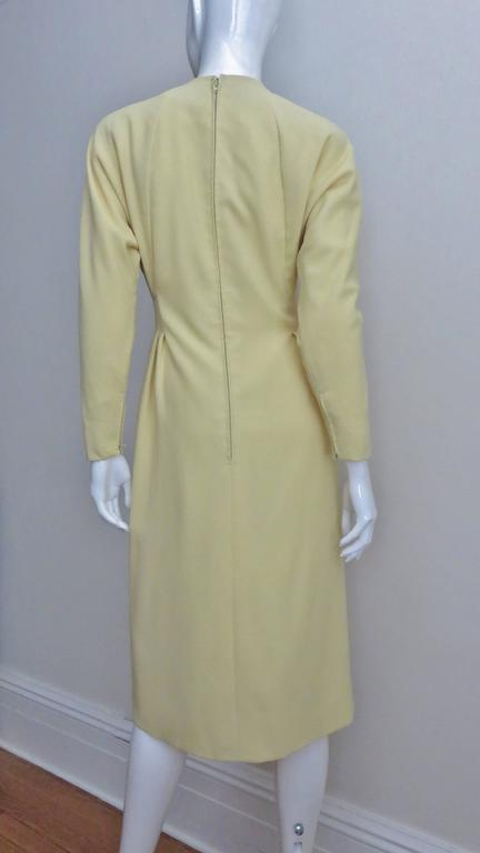 1970's Pauline Trigere Lemon Dolman Sleeve Dress For Sale 1