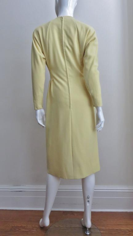 1970's Pauline Trigere Lemon Dolman Sleeve Dress For Sale 3