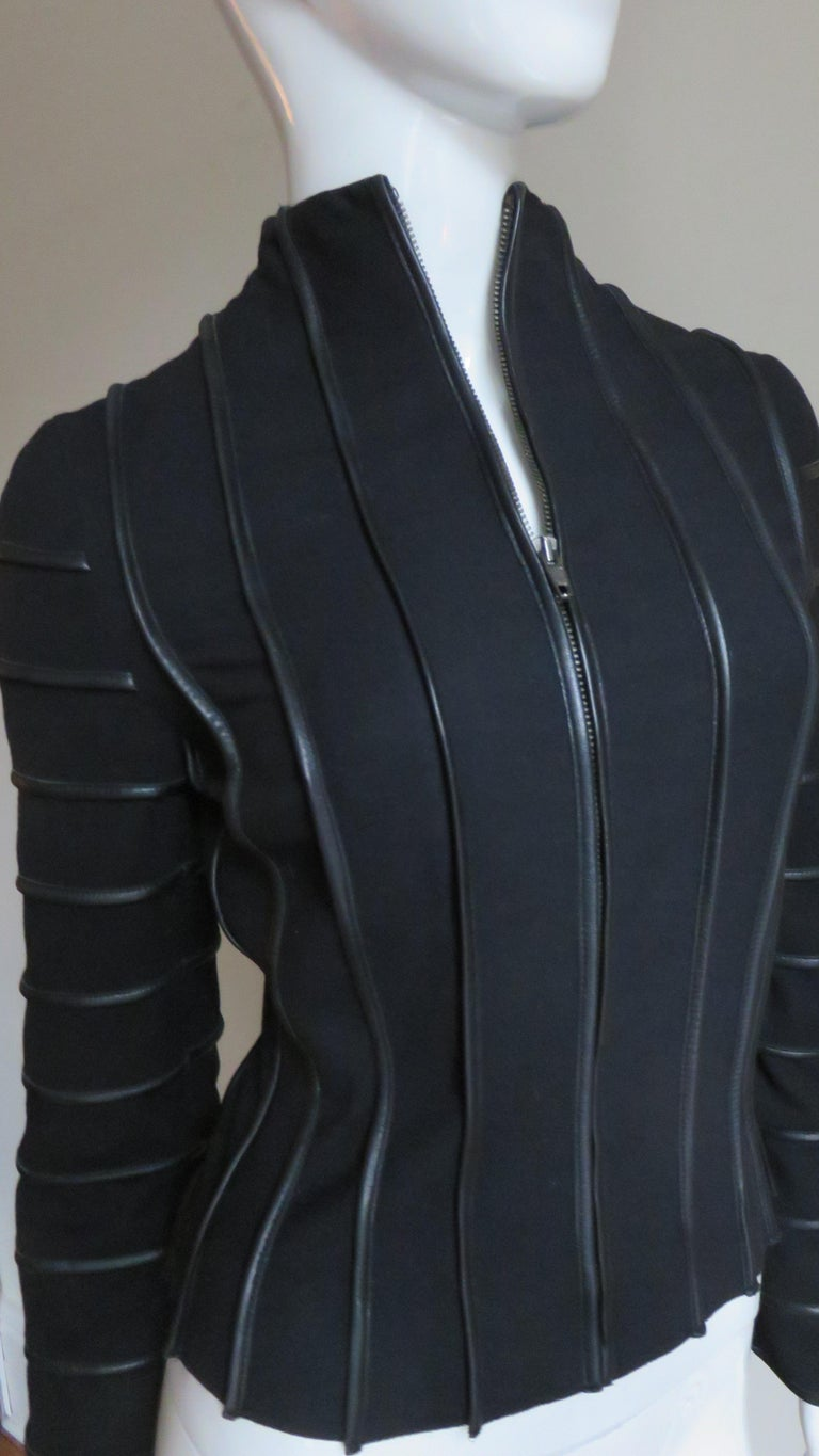 Moschino Wool Jacket with Leather Piping For Sale 4