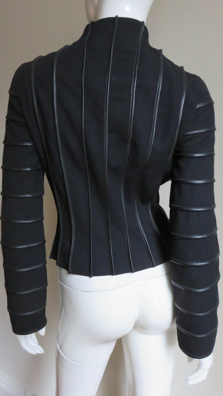 Moschino Wool Jacket with Leather Piping For Sale 10
