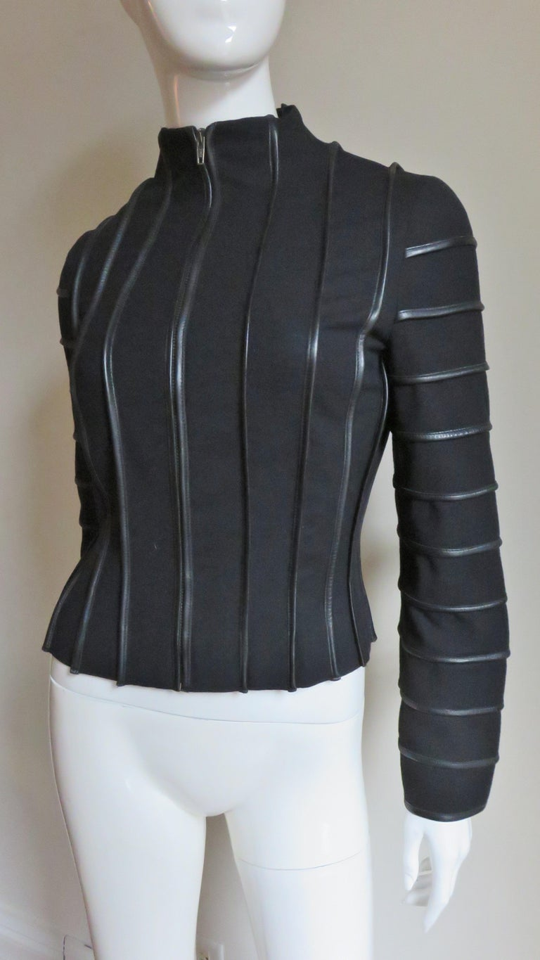 Women's Moschino Wool Jacket with Leather Piping For Sale