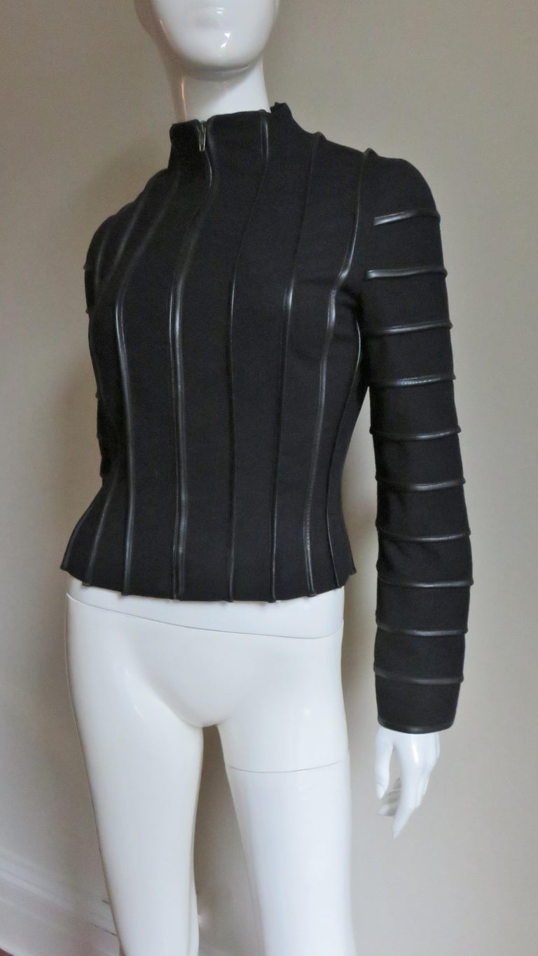 Moschino Wool Jacket with Leather Piping For Sale 1