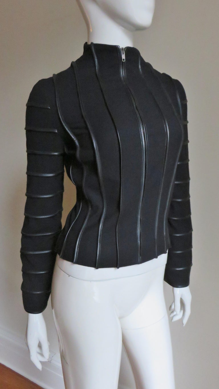 Moschino Wool Jacket with Leather Piping For Sale 2
