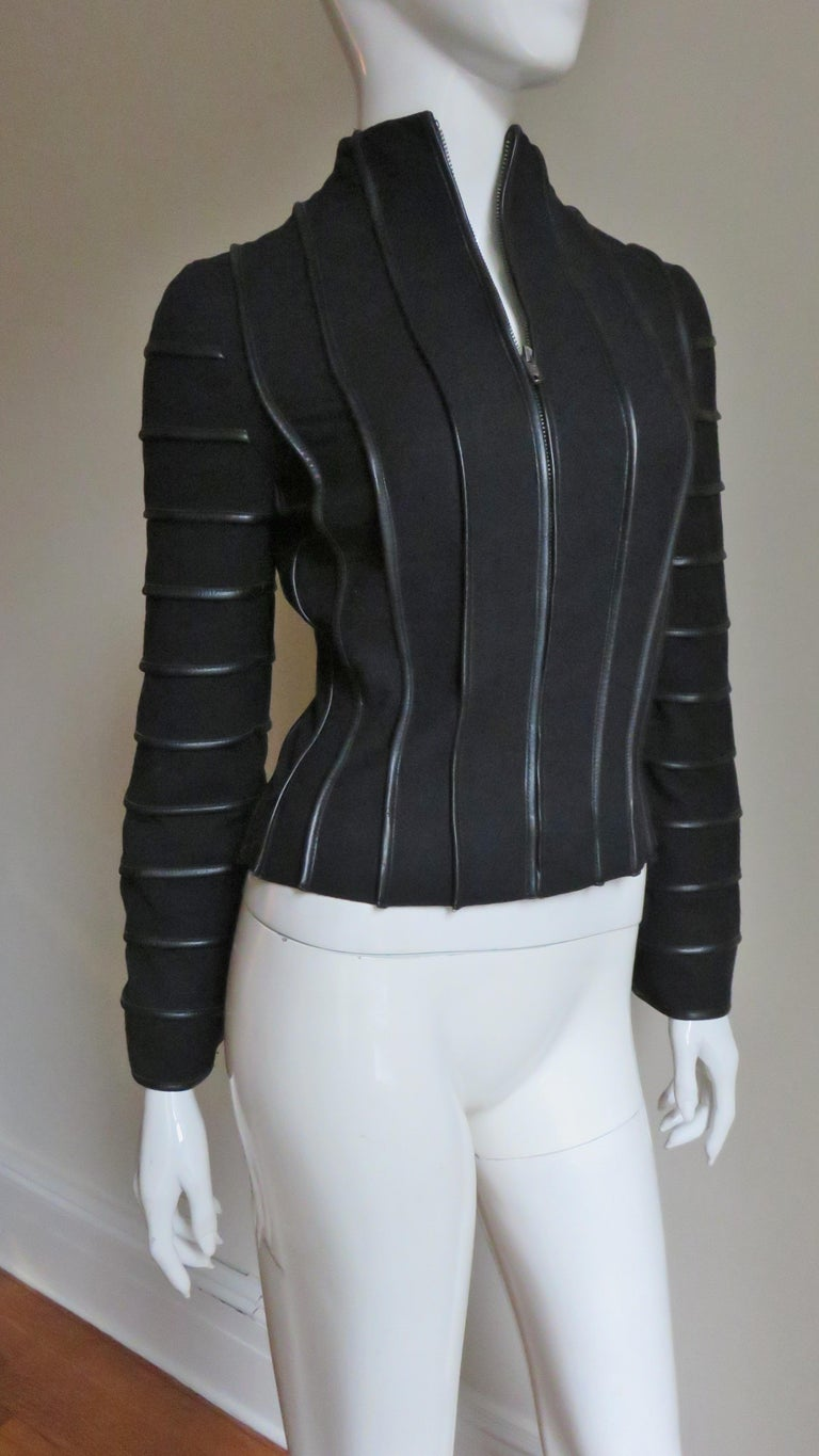 Moschino Wool Jacket with Leather Piping For Sale 3