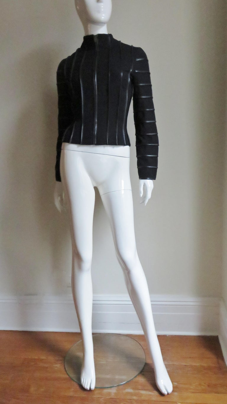 Moschino Wool Jacket with Leather Piping For Sale 7