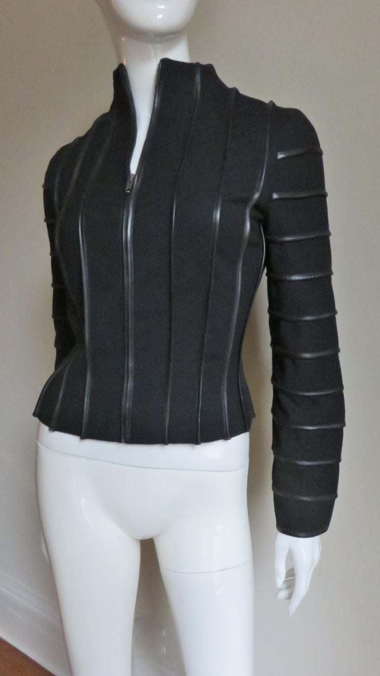 Moschino Wool Jacket with Leather Piping For Sale 5