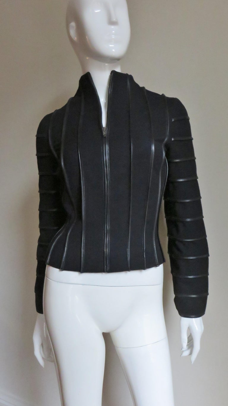 Moschino Wool Jacket with Leather Piping For Sale 6