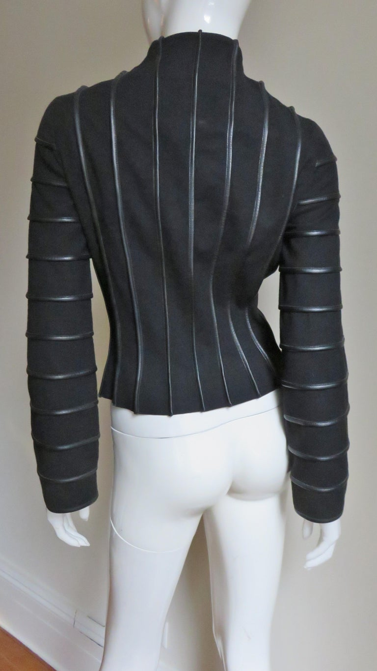 Moschino Wool Jacket with Leather Piping For Sale 9