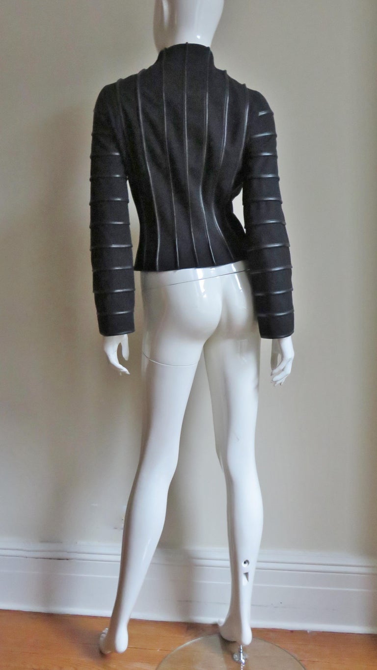 Moschino Wool Jacket with Leather Piping For Sale 13