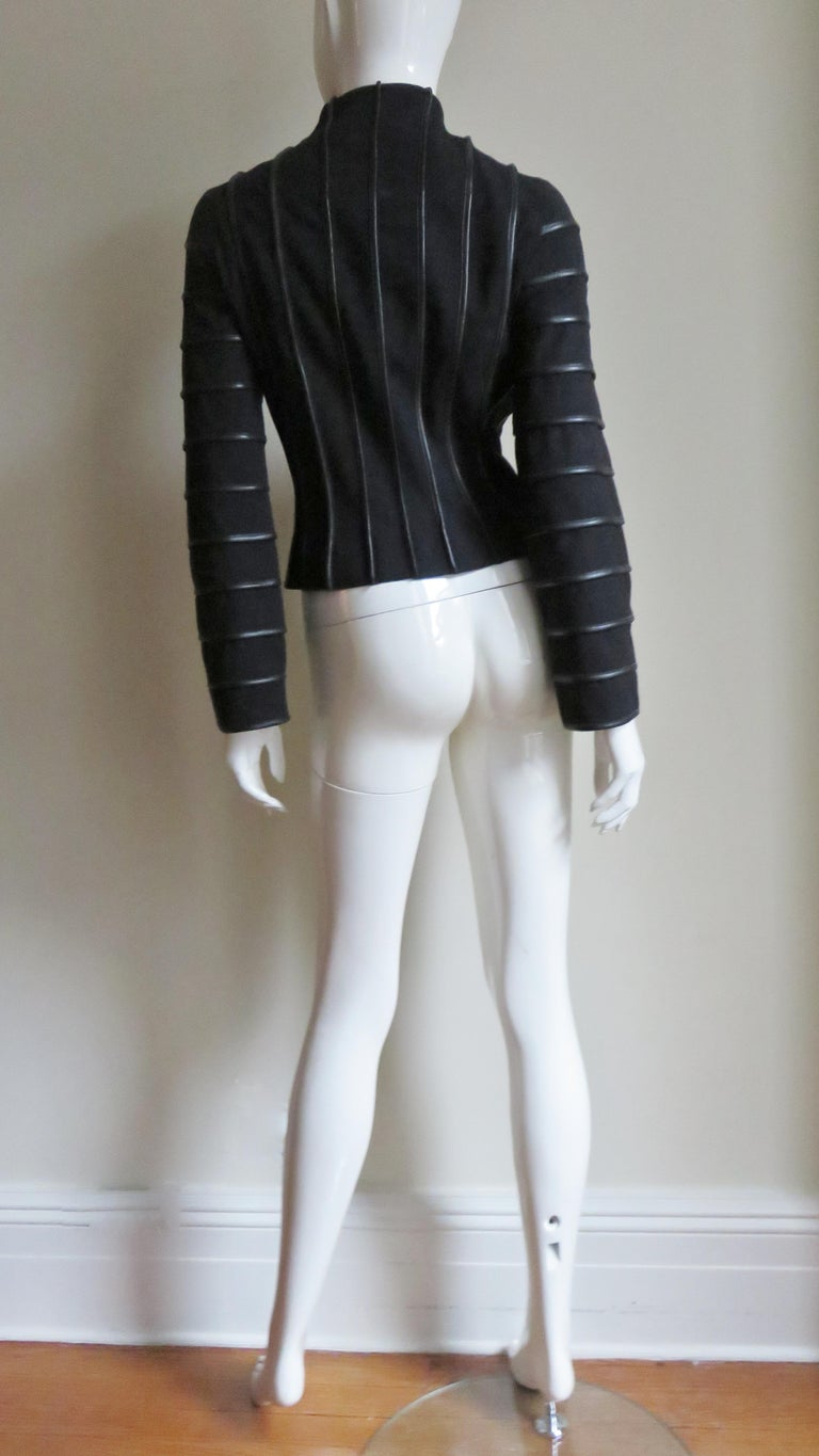 Moschino Wool Jacket with Leather Piping For Sale 8