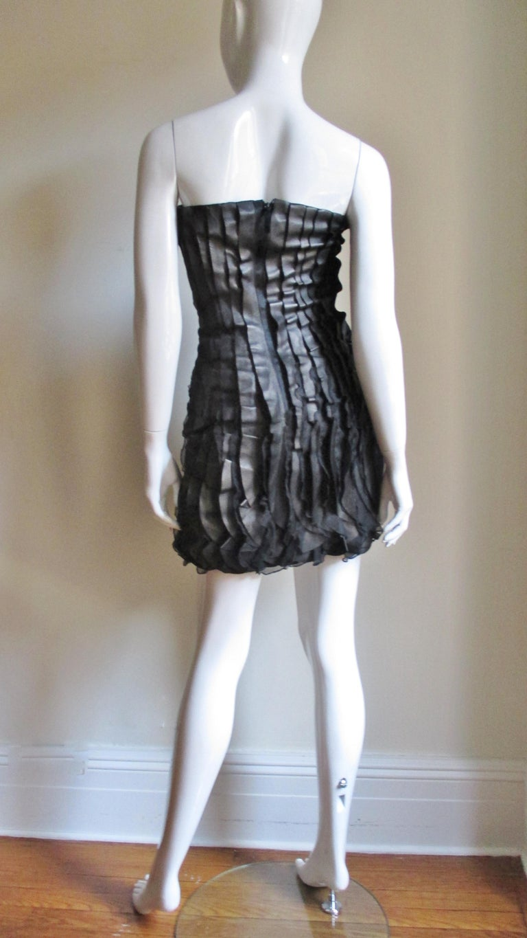 Incredible Valentino Leather and Silk Strapless Dress For Sale 9