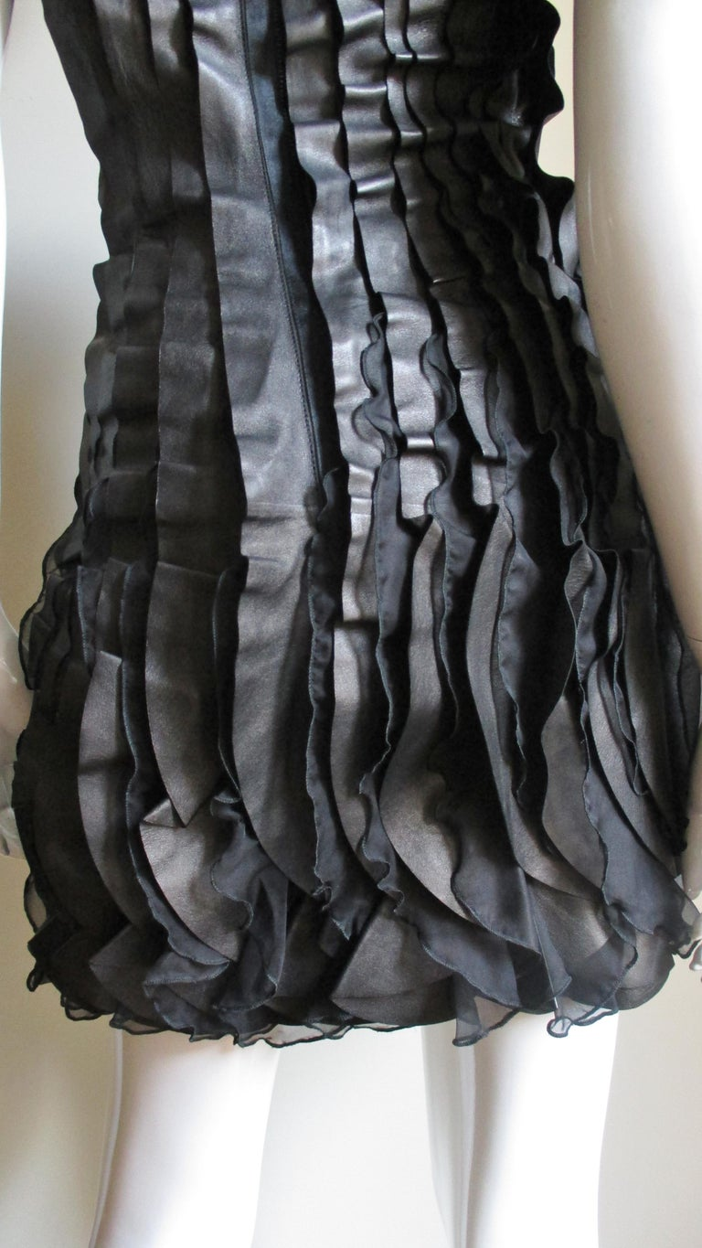 Incredible Valentino Leather and Silk Strapless Dress For Sale 8