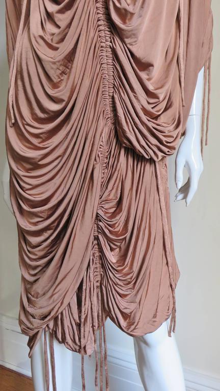 Brown 1990s Dolce & Gabbana Drawstring Drape Dress For Sale