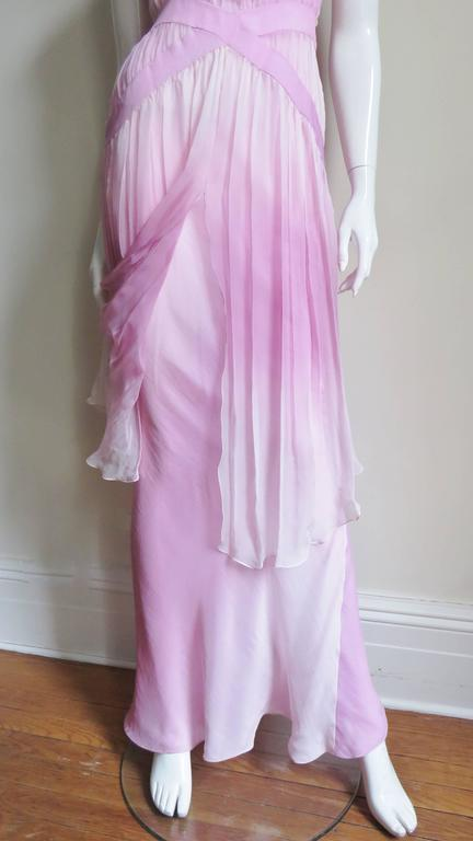 2000s John Galliano Pink Silk Ombre Dress For Sale 1