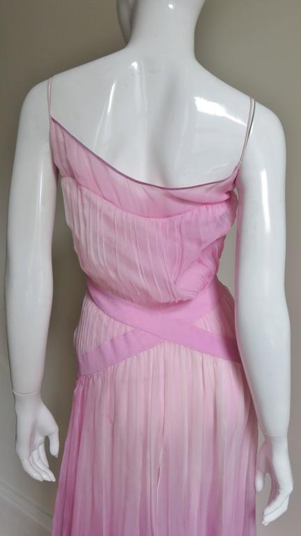 2000s John Galliano Pink Silk Ombre Dress For Sale 3