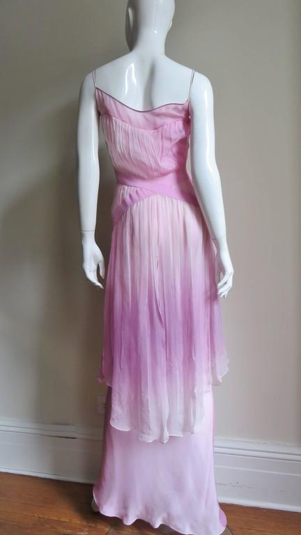 2000s John Galliano Pink Silk Ombre Dress For Sale 4